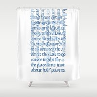 calligraphy Shower Curtains featuring Calligraphy Gothic by Cami Landia