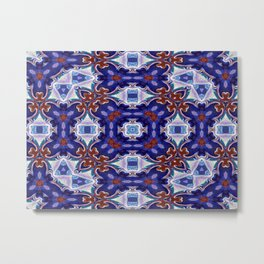 A Little Bit Country Blue Floral Pattern Metal Print