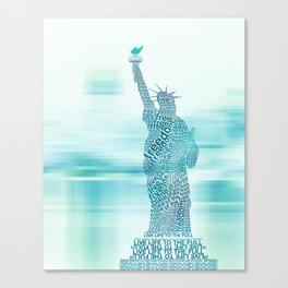 Typographic Statue of Liberty - Aqua Blue Canvas Print