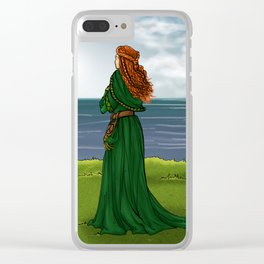 Celtic woman at the sea Clear iPhone Case