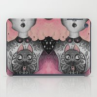 black cat iPad Cases featuring Black Cat by lOll3
