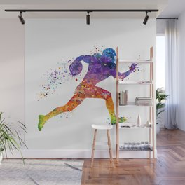 American Football Player Sports Art Colorful Watercolor Art Gift Football Player Gift Sports Decor Wall Mural
