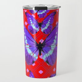 Purple Butterflies Flight on  Chinese Red Color Pattern Travel Mug