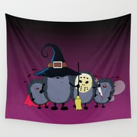 animal crew Wall Tapestries featuring Halloween party crew by mangulica