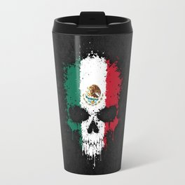 Flag of Mexico on a Chaotic Splatter Skull Travel Mug