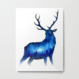 Double Exposure Deer | Space Deer | Night Sky Forest | Space Double Exposure Metal Print