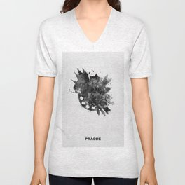 Prague, Czech Republic Black and White Skyround / Skyline Watercolor Painting Unisex V-Neck