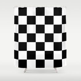 Traditional Black And White Chequered Start Flag Shower Curtain