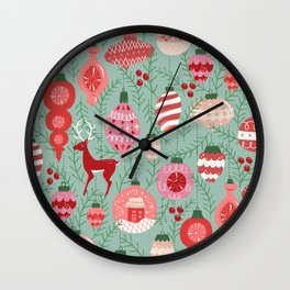 Mid-Century Ornaments in Red and Mint Wall Clock