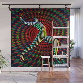 7398-MM_2328 Projection Mapped Op Art Female Figure Stepping Out Wall Mural