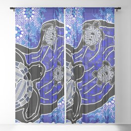 Baby Sea Turtles - Aboriginal Art Sheer Curtain