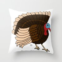 thanksgiving Throw Pillows featuring Thanksgiving Turkey by Yatasi