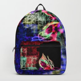 Beautiful Red Purple Blue Fractal Moth with tails of stars Backpack