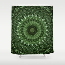 Mandala in olive green tones Shower Curtain