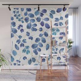 Botanical modern gold navy blue teal watercolor foliage Wall Mural