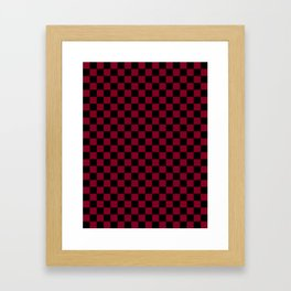 Black and Burgundy Red Checkerboard Framed Art Print