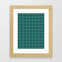 Black and Turquoise Diamonds Framed Art Print