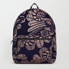 Elegant Rose Gold Floral Drawings on Navy Blue Backpack