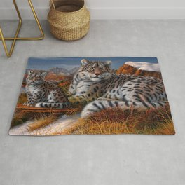 Leopard Mother And Cub In Pasture Ultra HD Rug