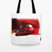 gta Tote Bags featuring Alfa Romeo Giulia Sprint 1600 GTA by Vadim Artemyev