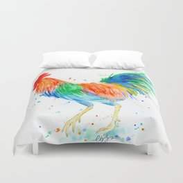 Watercolor Bright Rooster Duvet Cover