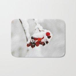 Bunch of red berries in winter Bath Mat