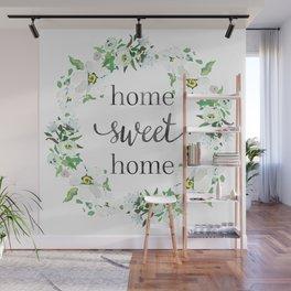 Home Sweet Home Floral Wreath Wall Mural