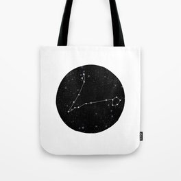 Pisces zodiac star sign constellation art black and white Tote Bag