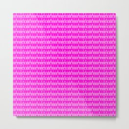 Bright Neon Pink Womens Makeup and Beauty Stripes Metal Print