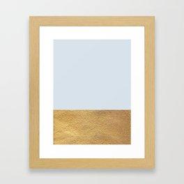 Color Blocked Gold & Periwinkle Framed Art Print