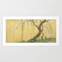 Cherry, Maple and Budding Willow Tree Art Print