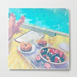 Brunch at Pool Watercolor Metal Print