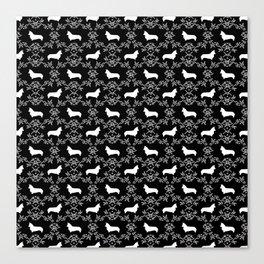 Corgi silhouette florals dog pattern black and white minimal corgis welsh corgi pattern Canvas Print