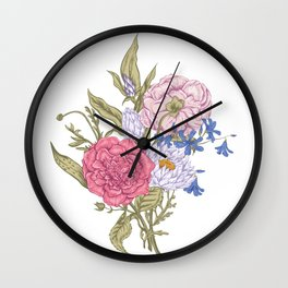Beautiful colofull bouquet with roses, chrysanthemums and wildflowers Wall Clock