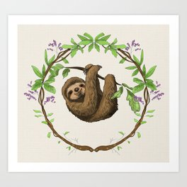 Sloth in Jungle Wreath Art Print