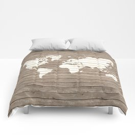 Wooden world map Comforters