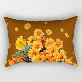 COFFEE BROWN SHOWER GOLDEN FLOWERS Rectangular Pillow