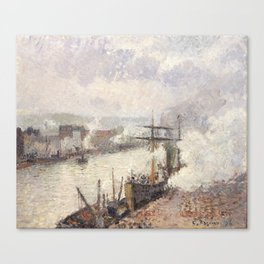 Camille Pissarro - Steamboats in the Port of Rouen, 1896 Canvas Print