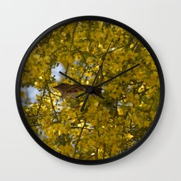 Little finch in Palo Verde Wall Clock