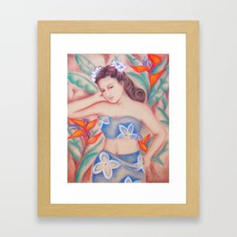 1940's Vintage Hawaiian Beauty Framed Art Print