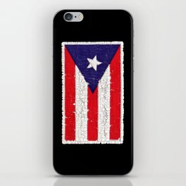 Puerto Rican flag with distressed textures iPhone Skin