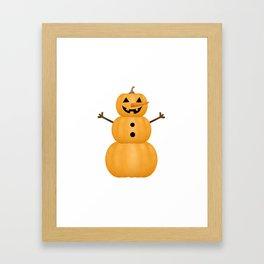 Pumpkin Snowman Framed Art Print