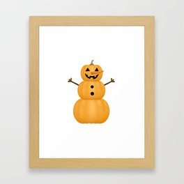 Pumpkin Snowman Framed Art Print