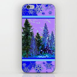BLUE-LILAC WINTER SNOWFLAKE CRYSTALS FOREST ART DESIGN iPhone Skin