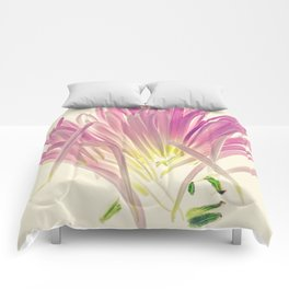 Love me, Dhalia - Botanical Print Comforters