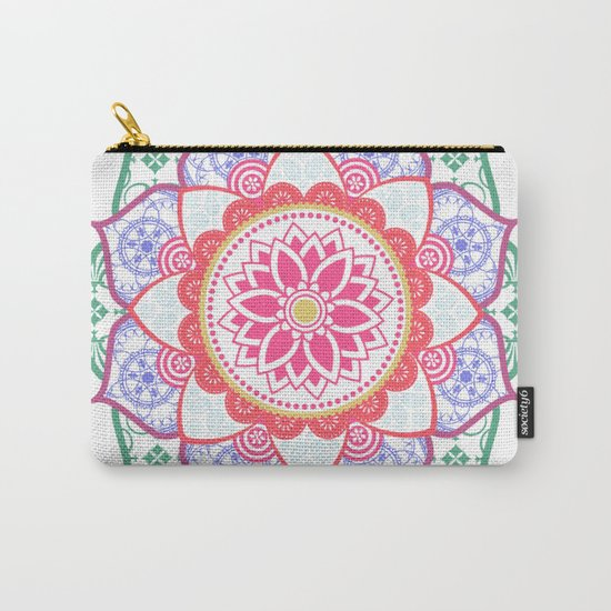 Decorative Coloured Flower Mandala Green Purple Blue Pink Carry-All Pouch