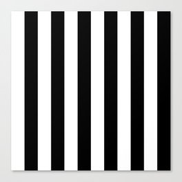 Black & White Vertical Stripes - Mix & Match with Simplicity of Life Canvas Print