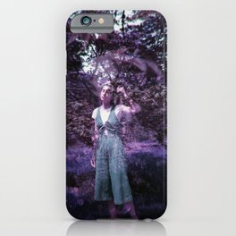 Lost Girl in the Lavendar Leaves - Double Exposure Film Photograph  iPhone Case