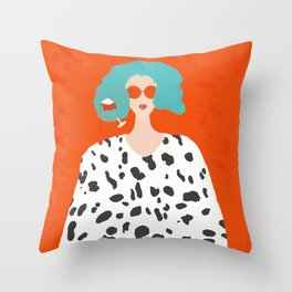 stepping out of quarantine like...  Throw Pillow