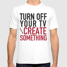 Turn off the Tv & Create Something MEDIUM White Mens Fitted Tee